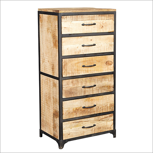 Wrought Iron 6 Wooden Drawer Chest