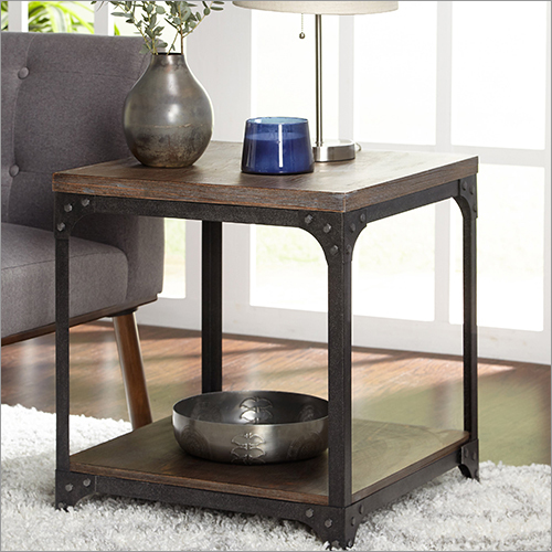 Wrought Iron Wooden End Table