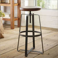 Wrought Iron Wooden Bar Stool
