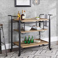 Wrought Iron 3 Tier Wooden Trolley