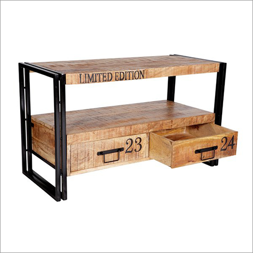Wrought Iron Wooden TV Cabinet