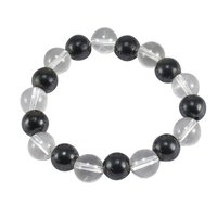 Hematite & Crystal Quartz Gemstone Stretchable Bracelet