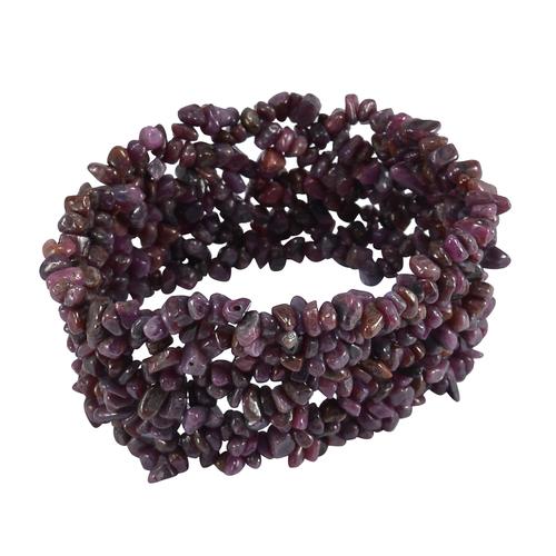 Ruby Gemstone Chips Stretchable Bracelet
