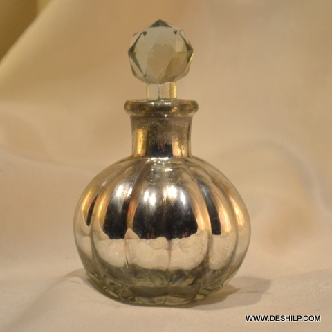 Antique Silver Polished Glass Perfume Bottle Antique Silver Polished Glass Perfume Bottle Big