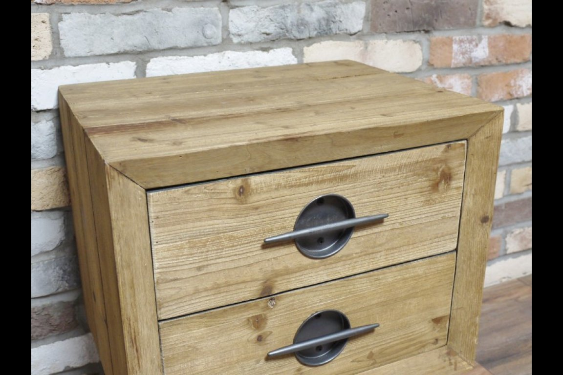 Olbia Solid Wood & Metal Square Bedside Table. Industrial Look.