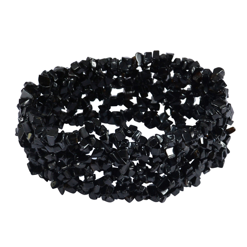 Black Onyx Gemstone Chips Stretchable Bracelet