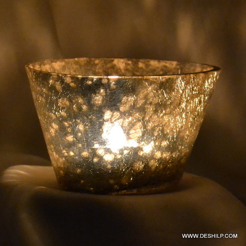 Silver Polished Glass T-light  Candle Holder