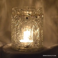 Clear Crackle Glass Candle Holder Round Shape
