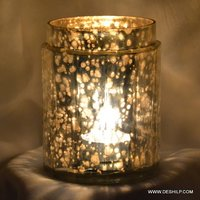 Silver Polished Glass Candle Holder Round Shape