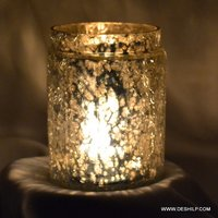 Crackle Glass Candle Holder With Silver Polished Finish Round Shape
