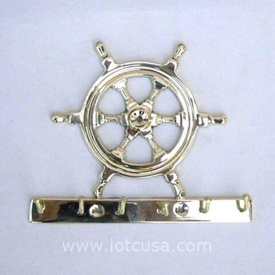 Brass Key Hanger Ship Wheel