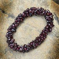 Garnet Gemstone Chips Stretchable Bracelet