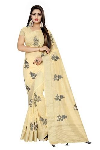 Ladies Light Yellow Sarees