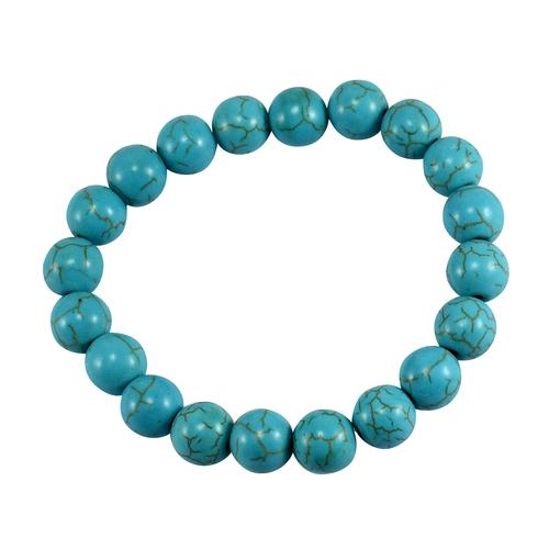 Handmade Jewelry Manufacturer 10mm Beaded Blue Turquoise Stretchable Yoga Statement Bracelet Jaipur Rajasthan India