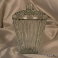 Heavy Cutting Glass Jar With Glass Lid