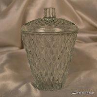 Glass Shape Cutting Jar With Glass Lid