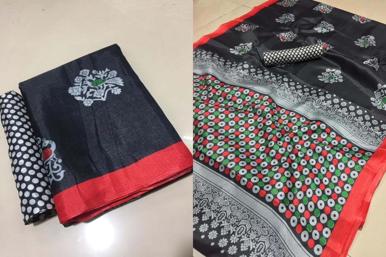 Bhagalpuri Printed Saree With Fancy Blouse