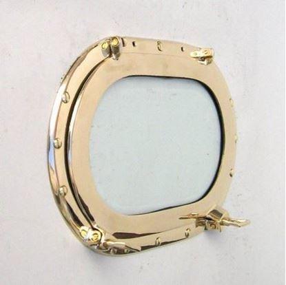 Brass Porthole Oblong Glass 14 Inch