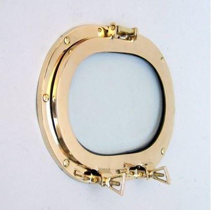 Brass Porthole Oblong Glass 12 Inch