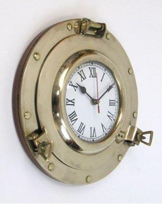 Porthole Clock Brass 11 Inch