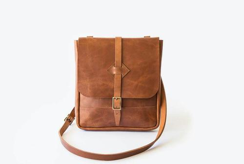 Mens Tan Sling Leather Bag