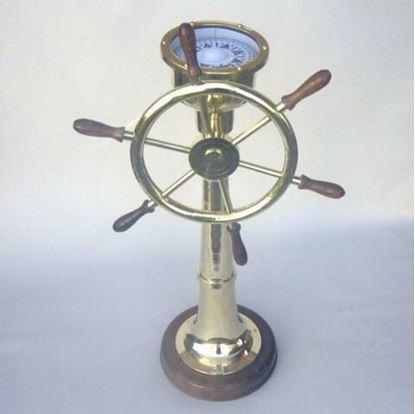 Brass Ship Wheel Compass