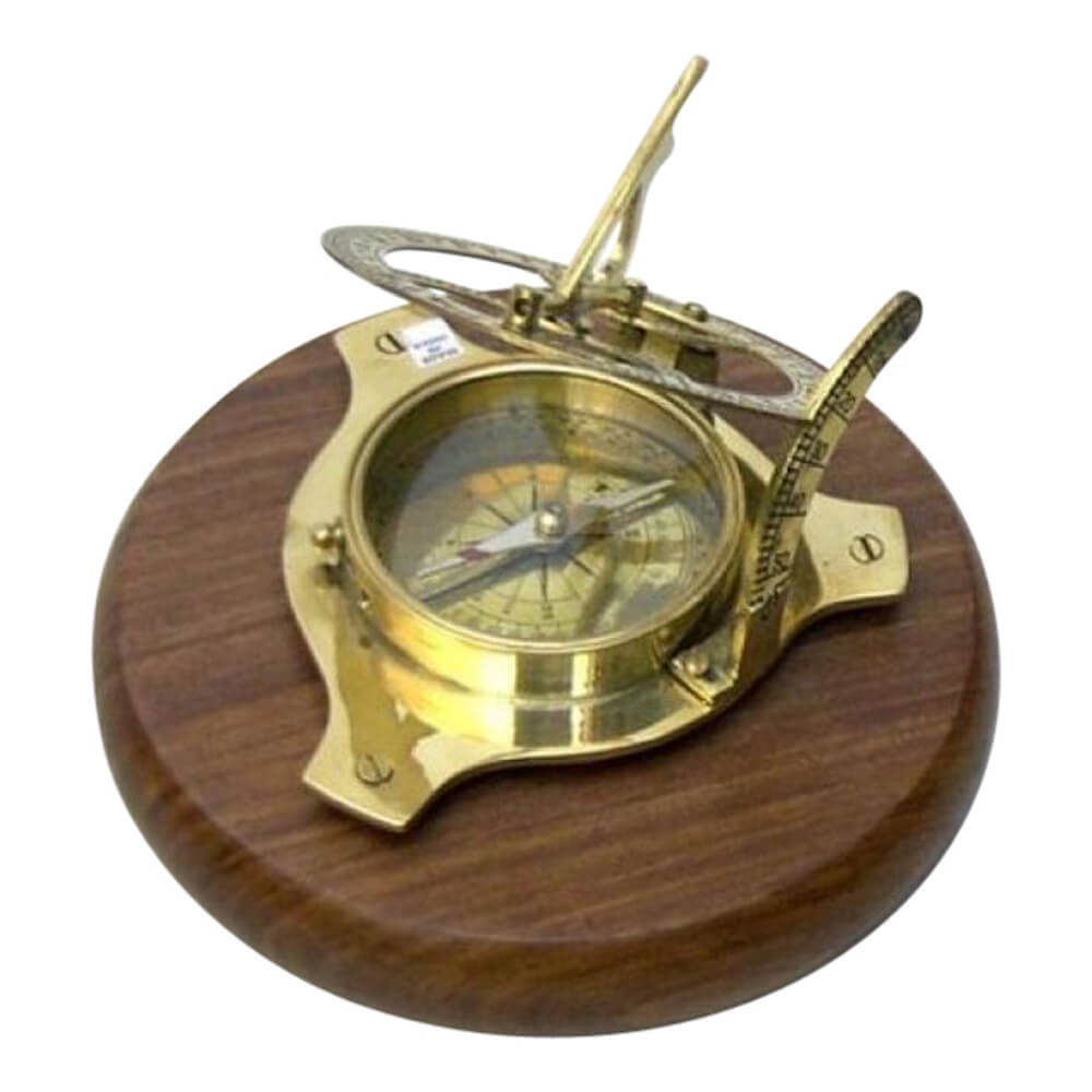 Sun Dial Compass Wood Base