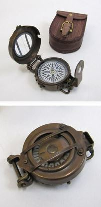Antique Military Compass With Leather Pouch