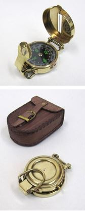 Solid Brass Military Compass with Leather Pouch