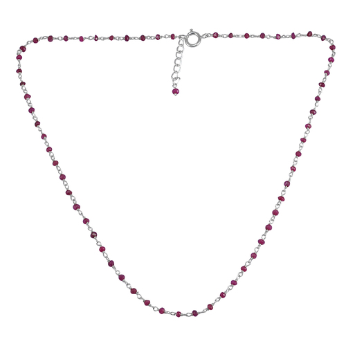 Handmade Jewelry Manufacturer 3 mm Round Ruby 925 Sterling Silver Beaded Necklace Jaipur Rajasthan India