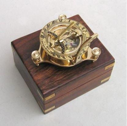 Sun Dial Compass Wood Box