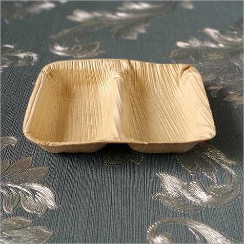 Areca Leaf Sauce Bowl / 2 Compartment