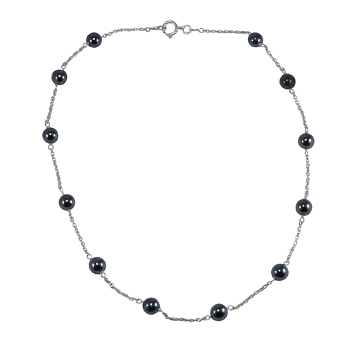 Handmade Jewelry Manufacturer 8 mm Round Hematite 925 Sterling Silver Beads Necklace Jaipur Rajasthan India