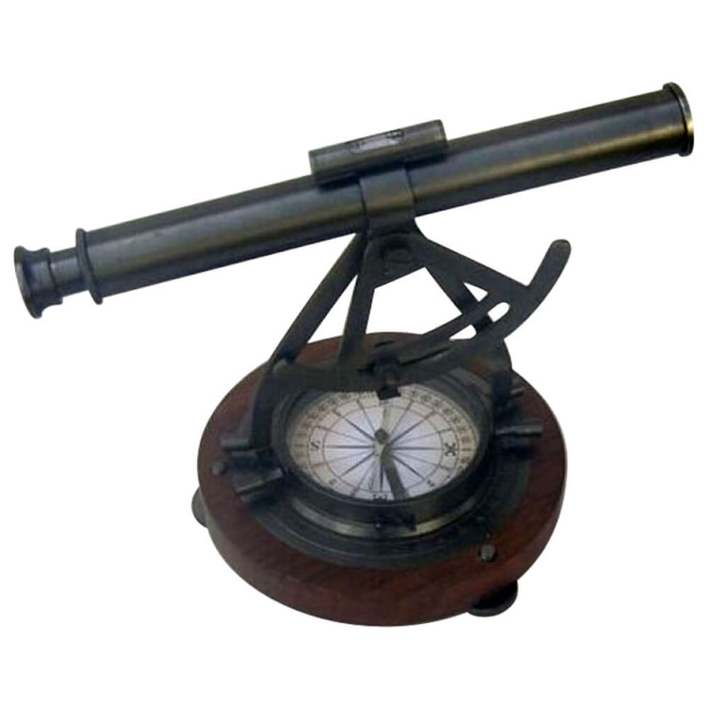 Alidade Theodolite Compass Wooden Base