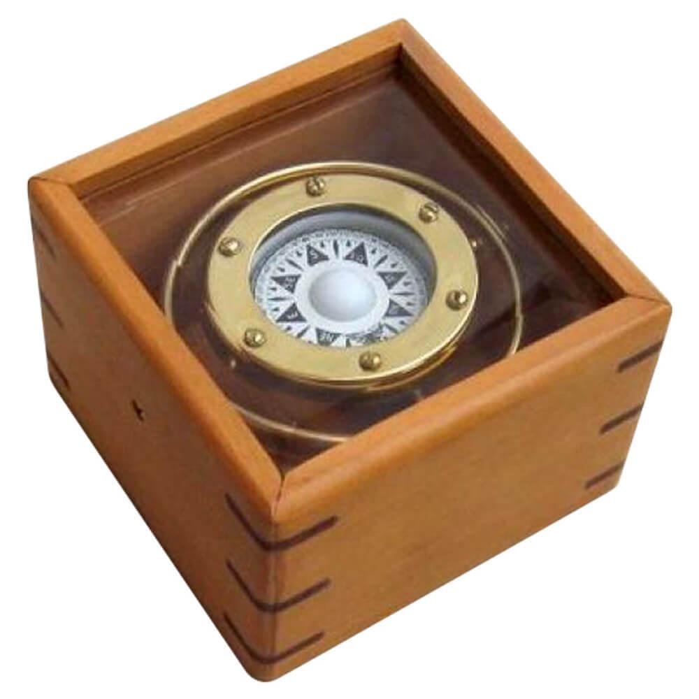 Gimbal Compass Wood Glass Box