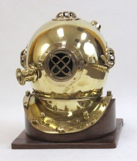 Brass Diver Helmet With Wooden Base
