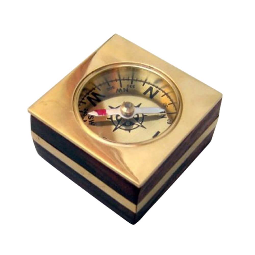 Brass Wooden Desk Compass