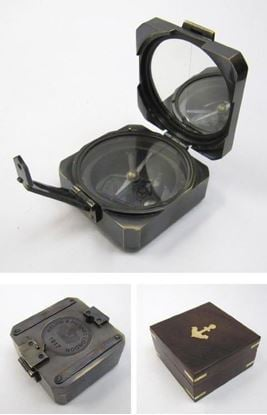 Antique Solid Brass Brunton Square Compass