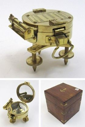 Solid Brass Brunton Stand Compass In Wooden Box