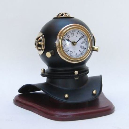 Iron Black Divers Helmet Clock With Wooden Base