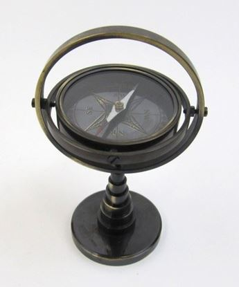 Brass Gimbal Stand Compass Antique Finish