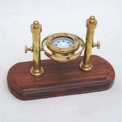 Antique Solid Brass Gimbal Compass Wooden Base