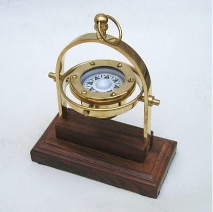 Brass Gimbal Compass Wooden Base