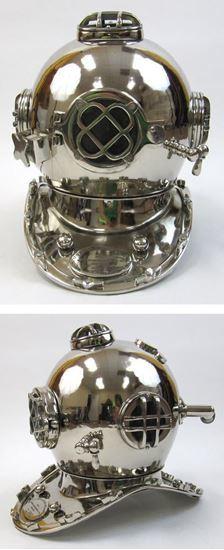 Aluminum Divers Helmet Mark Five Chrome Finish