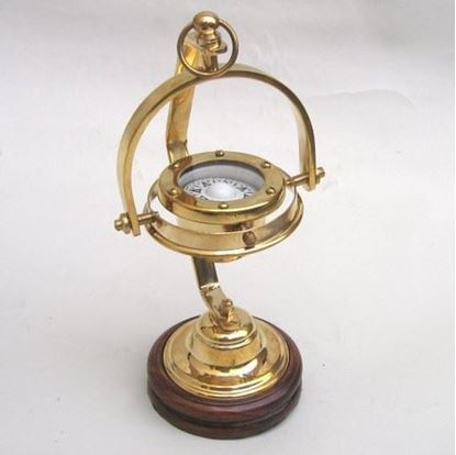 Solid Brass Gimbal Compass Wooden Base