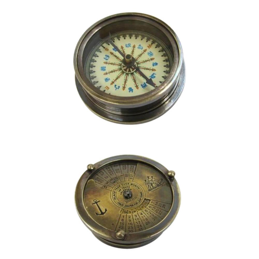 Solid Brass Pocket Compass With Mechanical Calendar