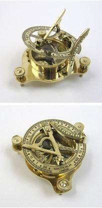 Solid Brass Folding Sun Dial Compass