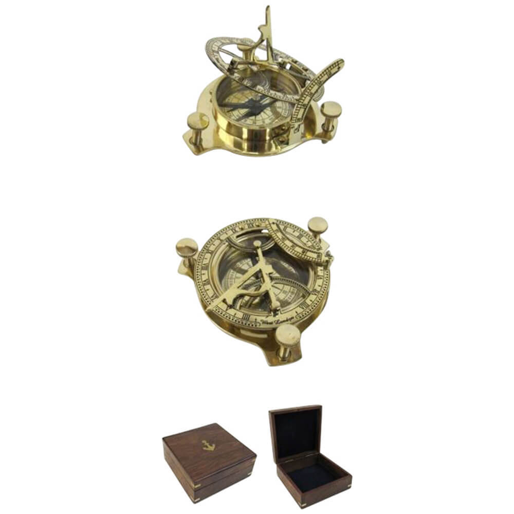 Folding Brass Sun Dial Compass with Wooden Case