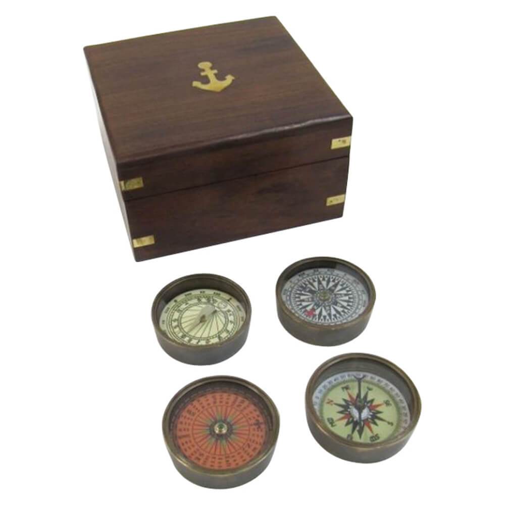 Solid Brass Compass Set With Wooden Box