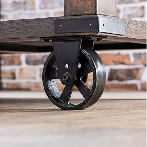 Industrial Coffee Table, End Table, Accent Tables Wheeled Coffee Table